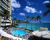 swimming pool Diamond Head Sheraton Hotels & Resorts Waikiki Oahu Hawaii Sightseeing Blue sky Sea Coconut palm tree