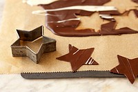Cut_out chocolate stars for decoration
