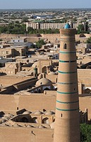 Juma minaret, view from the Minaret of Islam_Khodja, Khiva, Uzbekistan