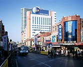 Zhongshan, crowded, Qingdao, Shandong, China, city view, road, bus, Traffic, Vehicle, people, building, blue sky, November
