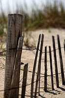 Weathered fence on sand dune on Bald Head Island, North Carolina