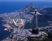 AERIAL Additional Charge Required Rio de Janeiro Brazil required Sky Clouds City View Building Statue Forest Tree People