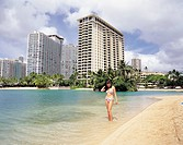 Woman at the Beach, Waikiki, Honolulu, Hawaii, USA