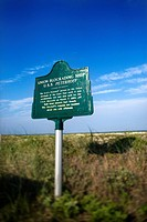 Historical marker on beach on Bald Head Island, North Carolina