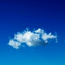 Lone puffy cumulus cloud in blue sky