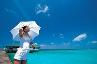 Yong Woman With Umbrella,Maldive Islands