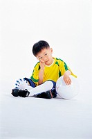 Korean Boy in Soccer Uniform