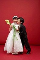 Girl and Boy Dressed as Bride and Groom, Korea