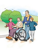 Grandparents and Grandchildren, Illustration, Side View