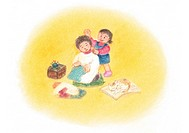 Daughter tapping mother´s shoulders, Illustration