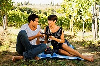 Picnicking couple with red wine