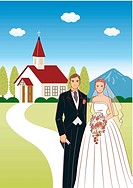 Bridal couple standing side by side in front of church, bride holding wedding cascade bouquet, front view