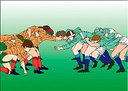 Painting of rugby players scrambling for the ball, Illustration