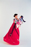 Woman And Baby In Korean Costume,Korea