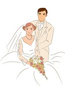 Groom standing aside of bride sitting on chair, bride holding wedding cascade bouquet, portrait