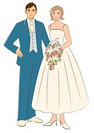 Bridal couple smiling and standing side by side, bride holding cascade bouquet, front view