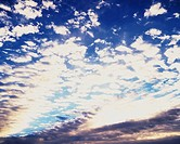 Blue sky and CloudsMackerel sky, Low angle view, Full frame