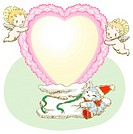 Painting of angels holding heart shaped wreath, Illustration