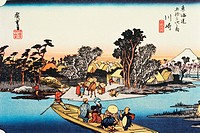 Scenery of Kawasaki in Edo Period, Painting, Woodcut, Japanese Wood Block Print