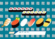 Assorted Sushi, Painting, Illustration, Illustrative Technique