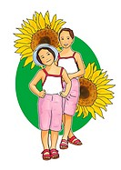Portrait of two girls with sunflowers, front view, white background, cut out