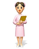 Nurse smiling and holding a file, Illustration, CG, Front View