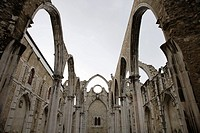 Open roof of Igreja do Carmo ruins in Lisbon, Portugal