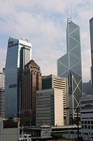 Hong Kong Skyline is littered with tall buildings and modern architecture