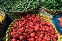 a Basket Full of Red Radishes and Common Beans, High Angle View, Shanghai, China