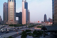 Several Buildings and Skyscrapers In Front of a Huge Road, Side View, Shanghai, China