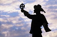 Silhouette of a statue of Samuel de Champlain, founder of Quebec City, Ottawa, Canada