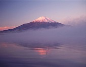 Mt. Fuji and Lake Yamanaka in the morning haze, Yamanakako town, Yamanashi prefecture, Japan