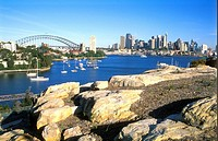 Sydney Bridge Skyline and Rocks