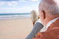 Senior couple on beach, looking out to sea, close-up, rear view