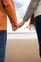 Couple hand in hand on beach, mid section, rear view