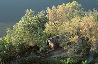 Hut on banks of Tajo river. Toledo province, Castilla-La Mancha, Spain