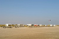 France, Camargue, caravans parked on beach