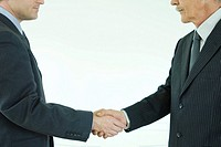 Two businessmen shaking hands, cropped side view
