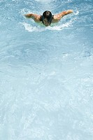 Man swimming in pool, high angle view (thumbnail)