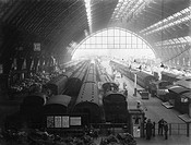 Inside St Pancras Station, London, 1947.The photograph was taken at a busy time when large amounts of mail and goods were about to be loaded onto trai...