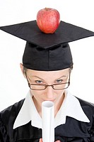 symbolic for brainfood, degree holder with apple