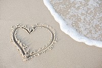 Heart shape in the sand