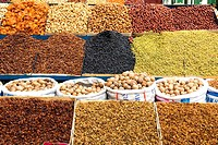 China, Xinjiang, Urumqi, bazaar, dried fruits