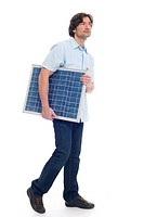Man holding solar panel (thumbnail)