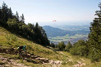 Germany, Bavaria, Kampenwand, Aschau, mountainbiker on the way