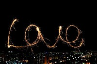 Drawn LOVE word with spark