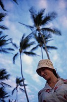 Woman and palm trees