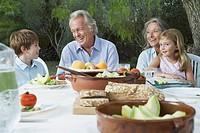 Grandparents with grandchildren 5_6 sitting at garden table