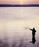Angler on Lough Neagh, Co Antrim, Ireland