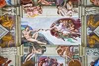 Michelangelo's 'Creation of Adam', Sistine Chapel, Rome, Italy